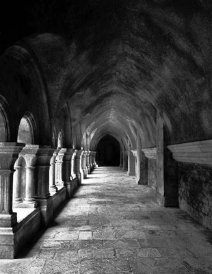 cloister in black and white
