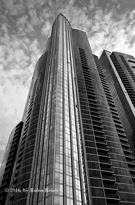high rise in black & white