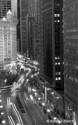 Michigan Avenue at the holidays in black & white